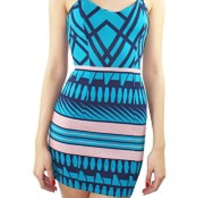Blue tribal print dress