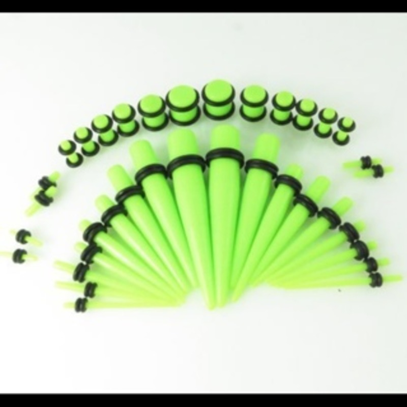 stretching kit 14g-00g plugs and tapers (36 pieces total)