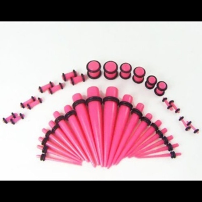 pink stretching kit for sale 14g-00g (36 pieces) plugs and tapers body jewelry