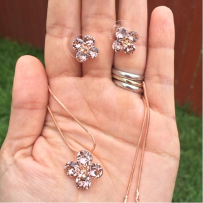 18k Rose Gold Plated Crystal Flower