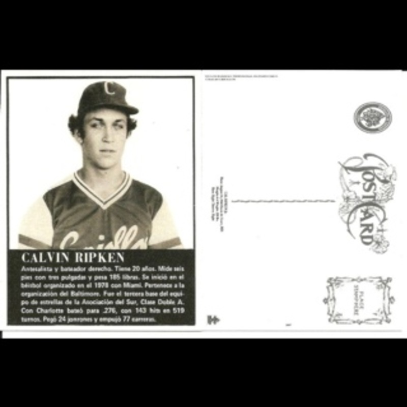 Cal Ripken Jr. Caguas Criollos unused Postcard Baltimore Orioles
