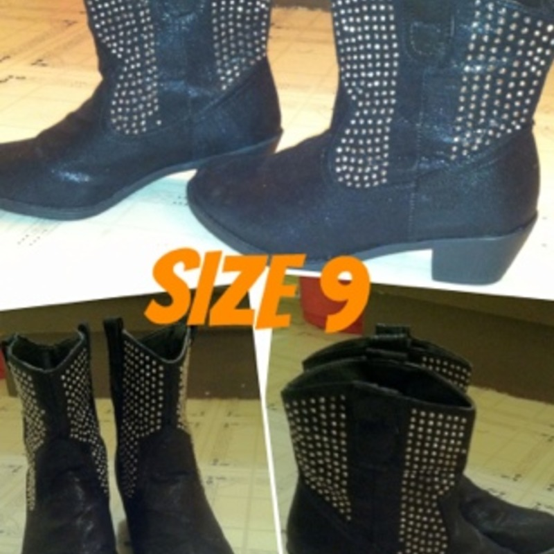 Sparkly black mid calf sequin boot
