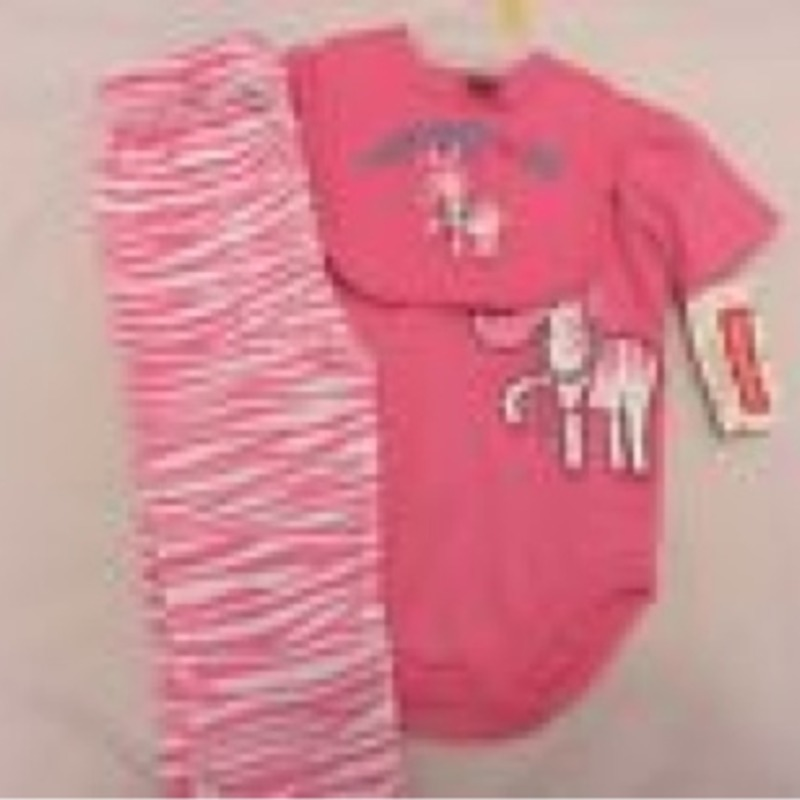 3pc NWT Fisher Price 3-6mo. pink zebra stripe