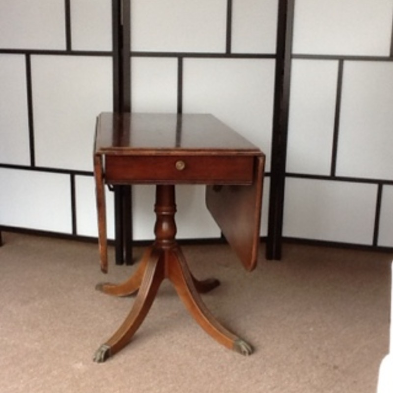 Vintage Mahogany Drop Leaf Claw Foot Table