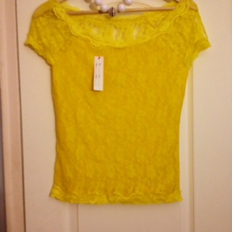 Lemon Yellow Colored Lace Top-Size Small- Brand New