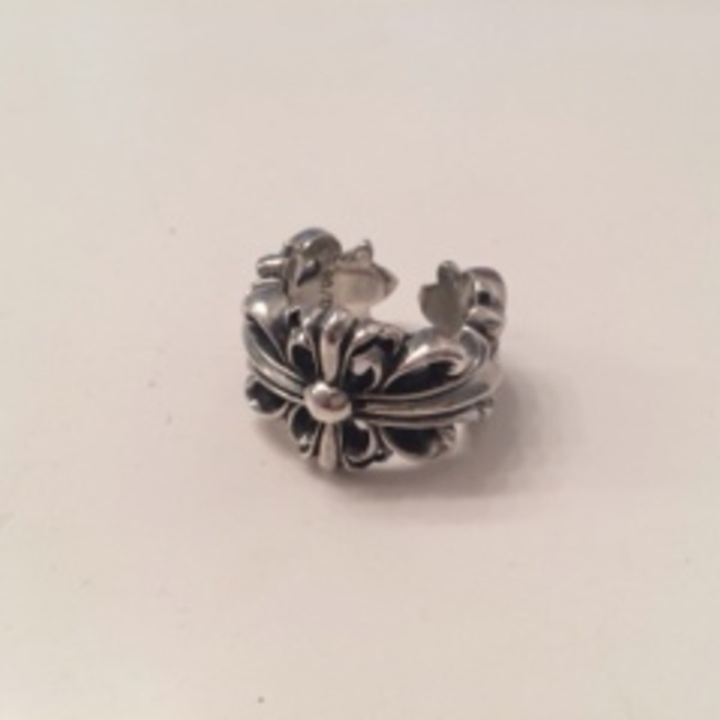 Pre-owned Authentic Chrome Hearts Double Floral Ring size 8