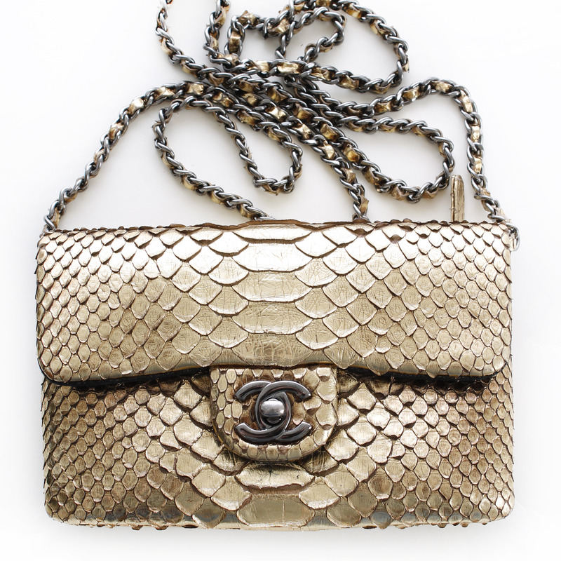 chanel hand/shoulder bag, python, gold, includes box, dustbag, like new - seriously.