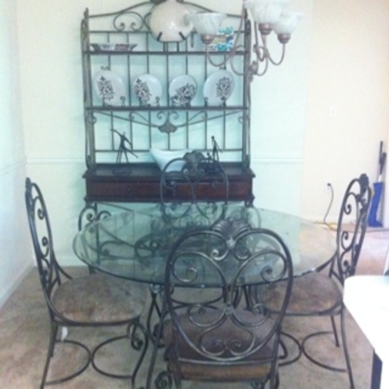 5 Piece dinette set with glass table and matching bakers rack
