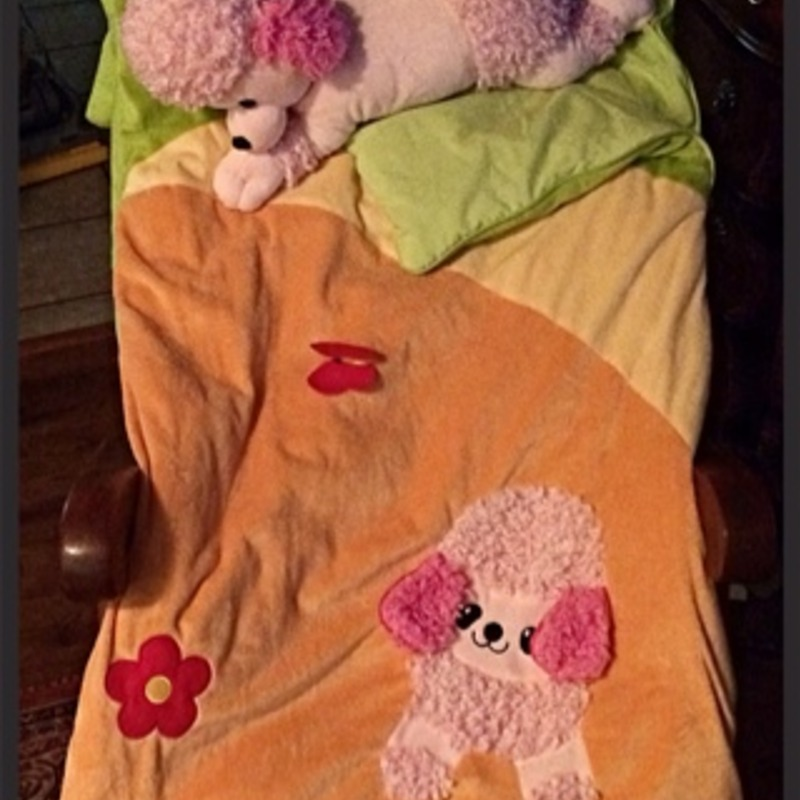 Plush Poodle Sleeping Bag with Poodle Pillow
