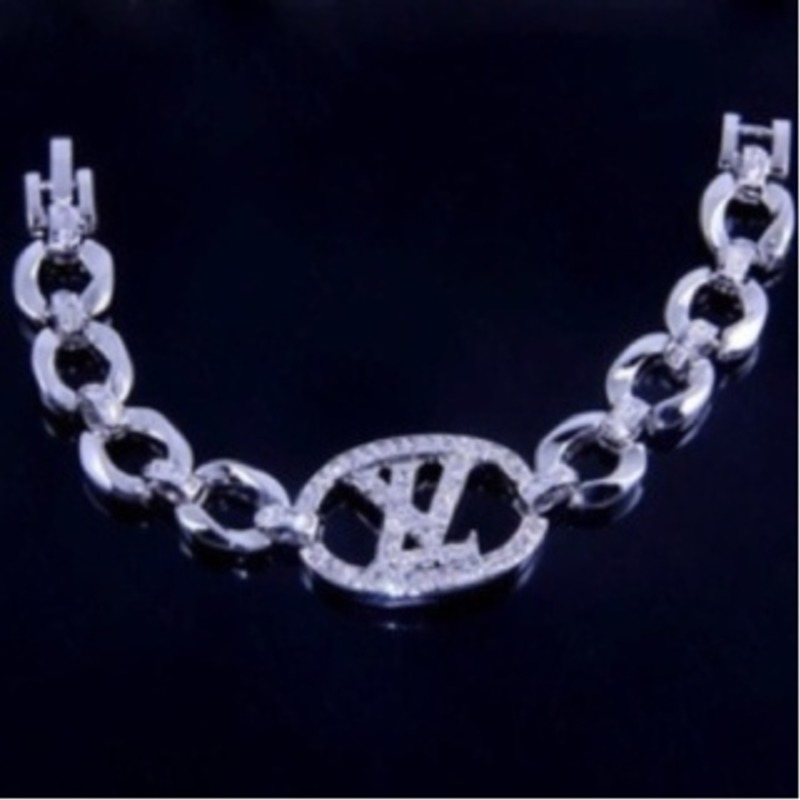 18k white gold over silver topaz bracelet