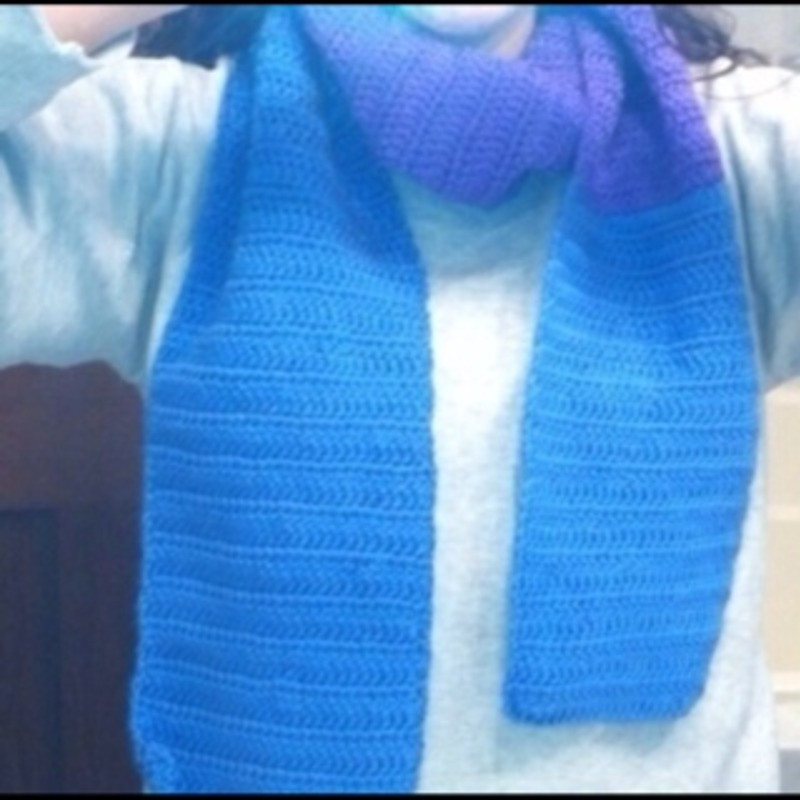 Homemade blue and purple scarf