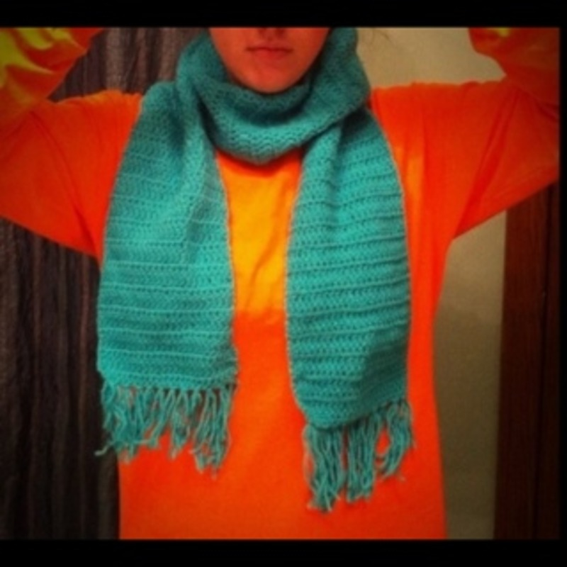 Teal homemade scarf
