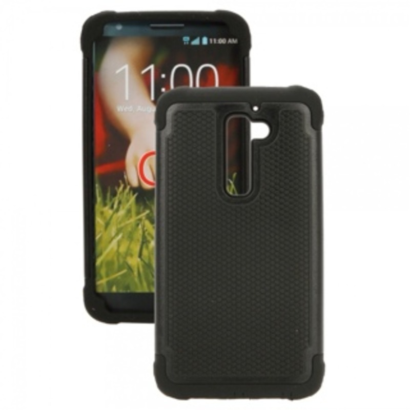 3-in-1 Silicone + PC Protective Case for LG G2 Black