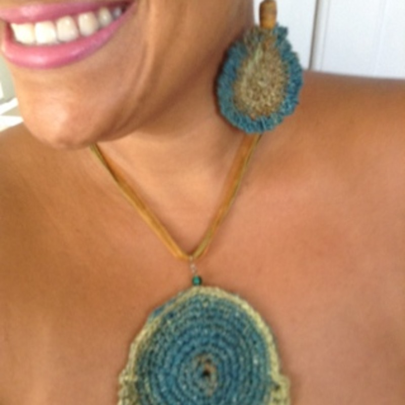 Silk crochet earrings and necklace