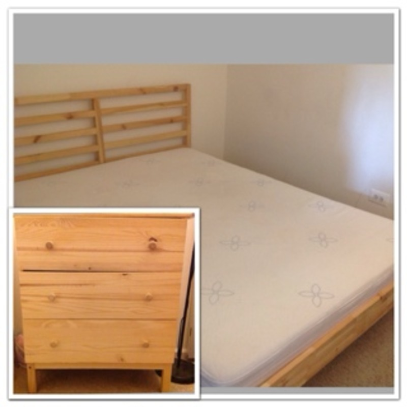 Queen bed , mattress and chest