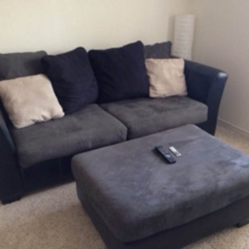 Pillow back couch and ottoman