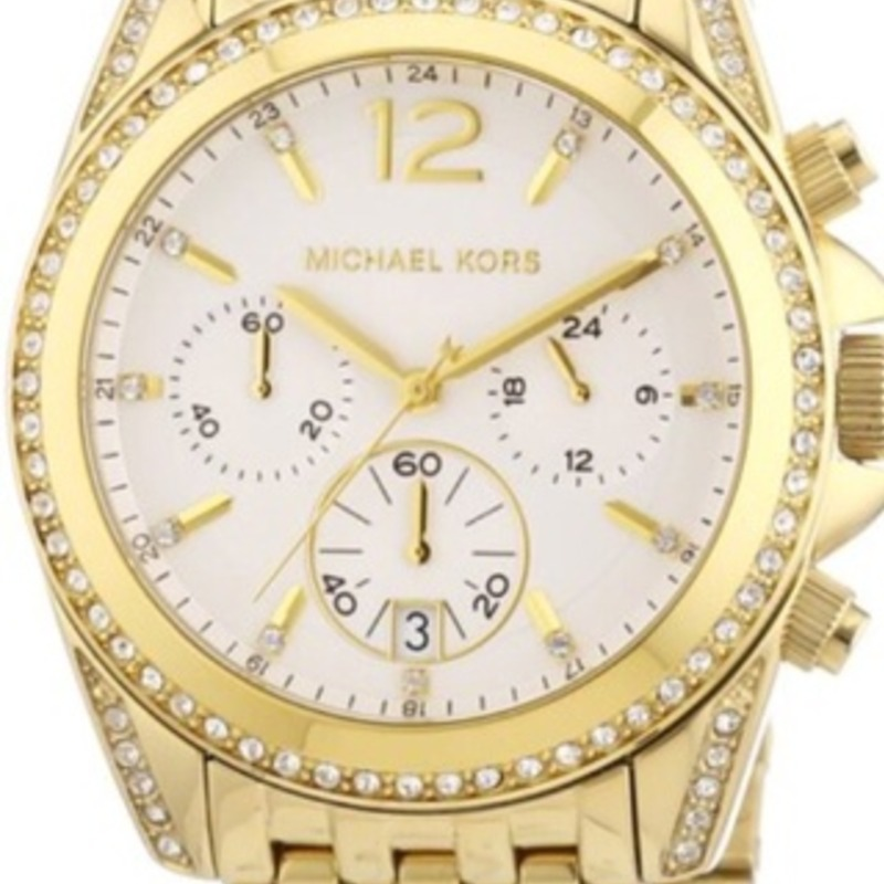 Michael Kors Women's Chronograph Pressley Gold-Tone Stainless Steel Bracelet Watch