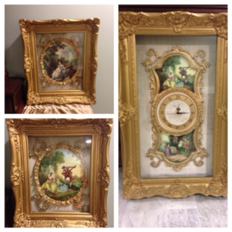 Italian made oil painting and clock frames
