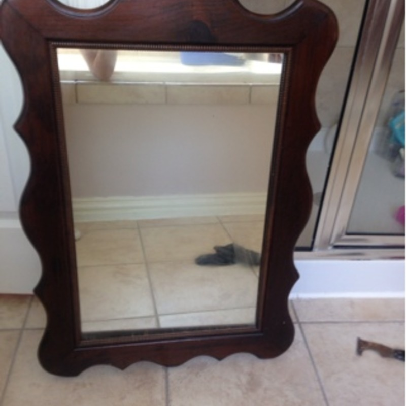 Antique mirror and antique end table