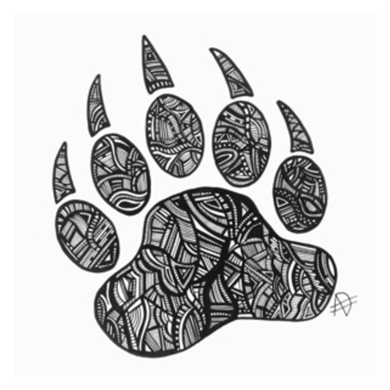 Bear paw original ink work handmade by me :)