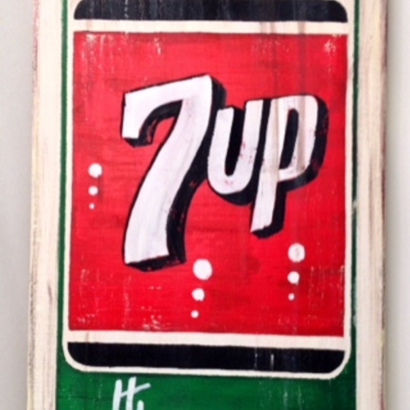 7up Soda Antique Tin Sign Painting