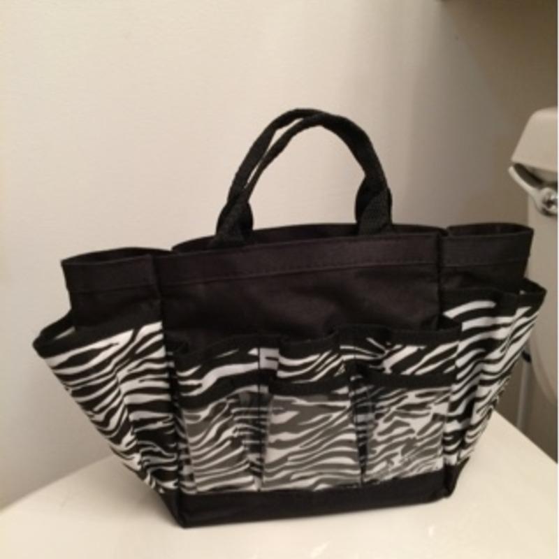 Black-and-white zebra travel bag for make up and hair appliances