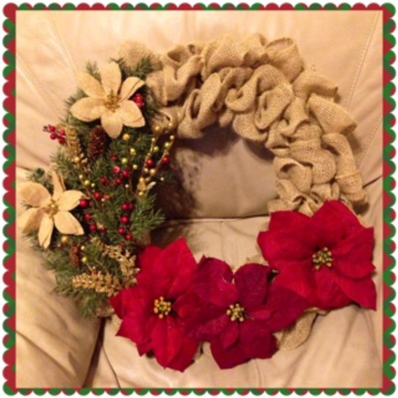 Homemade burlap wreath